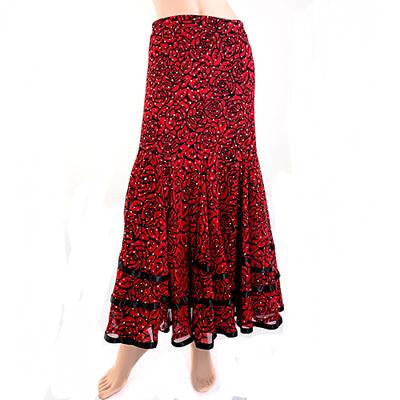 バラ柄裾ネット生地スカート
