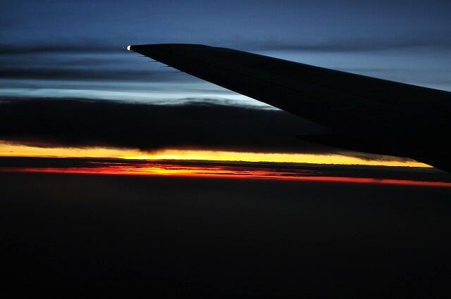 上空の日暮れ