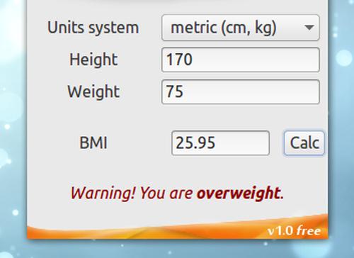 BMI Calculator Ubuntu BMI 電卓 計算結果とコメント