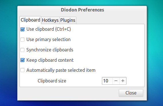 Diodon Clipboard Manager Ubuntu オプション