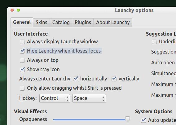 Launchy Ubuntu キーボード ランチャー オプション