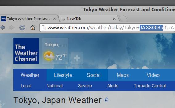 Weather Cinnamonアプレット 日本の天気のロケーションコード