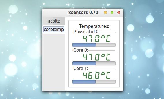 XSensors Ubuntu CPUの温度 システムモニタ