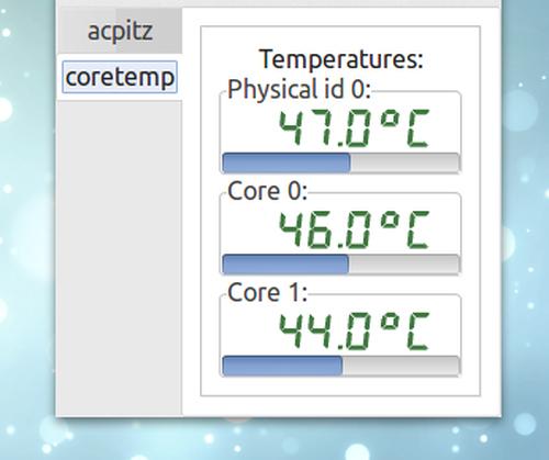 XSensors Ubuntu CPUの温度 コアごとの温度