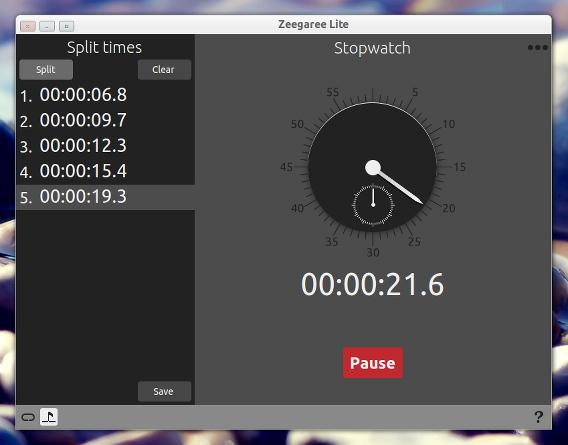Zeegaree Lite 1.1 Ubuntu ストップウォッチ スプリットタイム