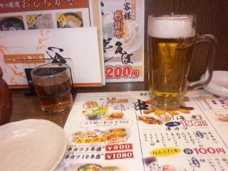 110217 新大阪 串揚げ屋 生ビール