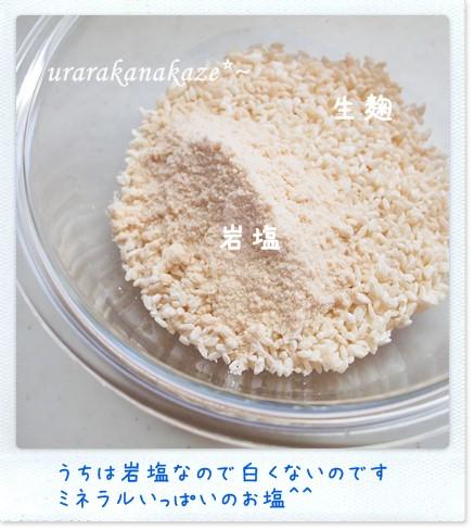 塩麹づくり 生麹と岩塩