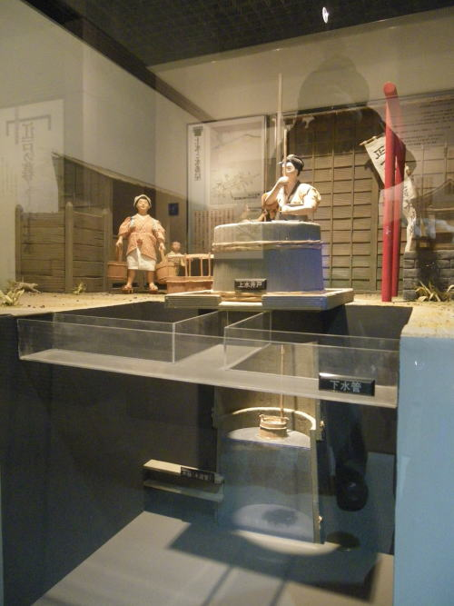 水道歴史館 長屋の上水井戸の模型