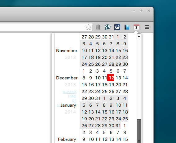 Calendar Block Chrome カレンダー