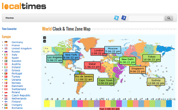 localtimes 世界の時刻 世界地図 タイムゾーン