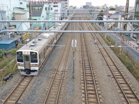 大森駅の近くの春日橋(かすがばし)から見る東海道線