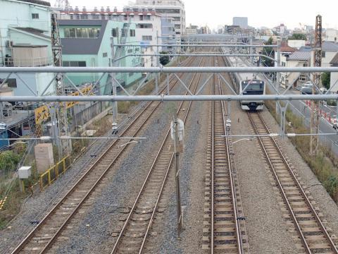 大森駅の近くの春日橋(かすがばし)から見る京浜東北線