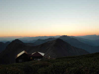 谷川岳の日没