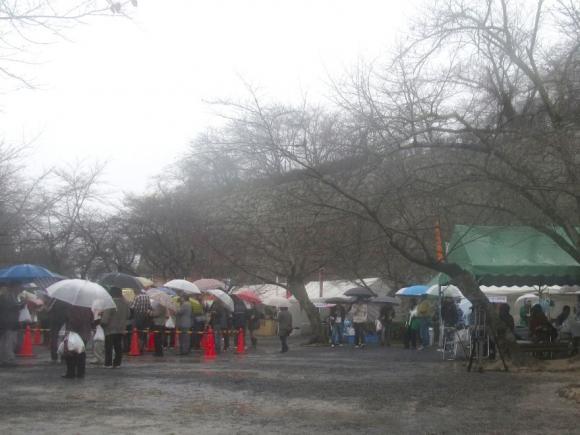 会場内は傘でいっぱい