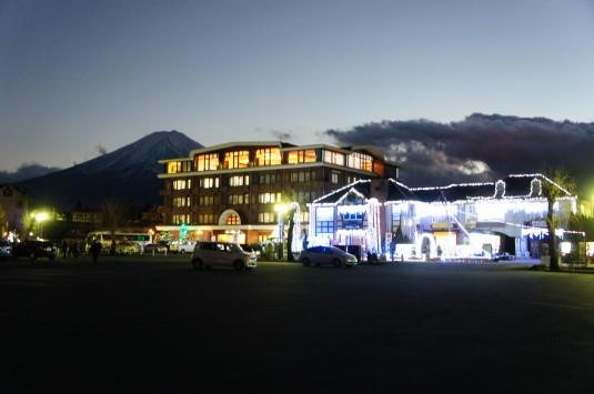 イルミネーション 大池公園 富士山と建物