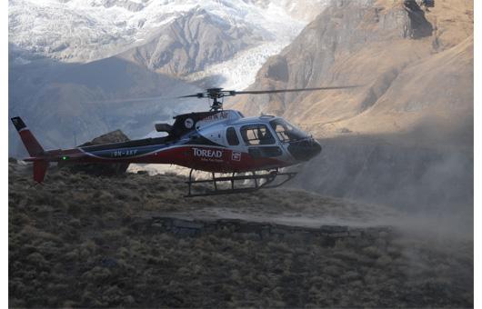 負傷者救助のヘリコプター