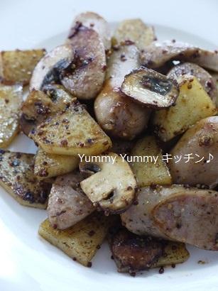 贅沢ソーセージ☆じゃがいもとマッシュルームの粒マスタード炒め♪縦2