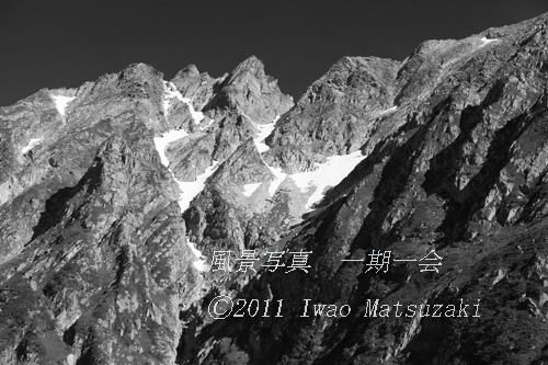 残雪の穂高岳