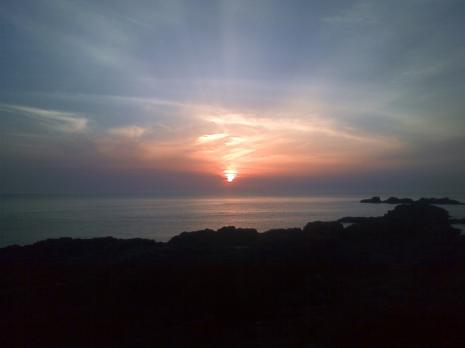 キャンプ場からの夕日