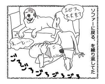 羊の国のラブラドール絵日記シニア!!「おヘソは無事」4コマ4
