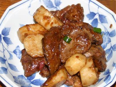 鶏レバーと里芋の照り焼き