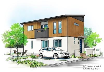 一戸建て住宅 木造住宅 外観パース 手書きパース 手描きパース フォトショップ photoshop