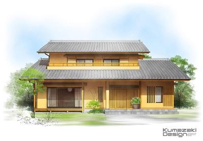 一戸建て住宅 木造住宅 和風住宅 数寄屋造り 外観パース 手書きパース 手描きパース フォトショップ photoshop
