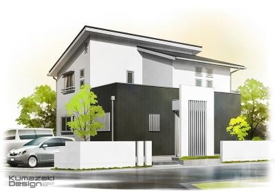 一戸建て住宅 木造住宅 注文住宅 シンプルハウス 完成予想図 外観パース 手書きパース 手描きパース フォトショップ photoshop