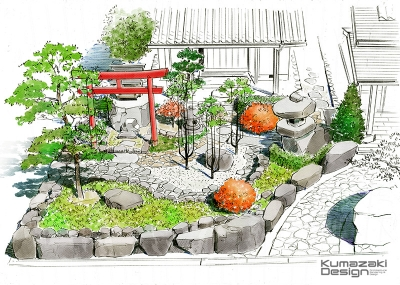 造園 庭 外構 ガーデニング 完成予想図 イメージパース スケッチ 手書きパース 手描きパース フォトショップ photoshop