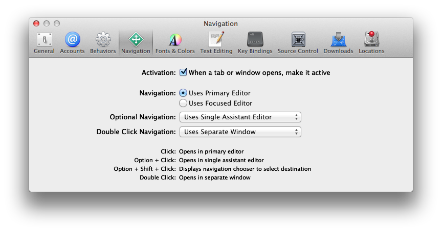 Xcode / Preferences / Navigation