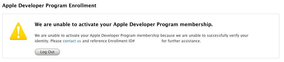 Developer Program のactivation失敗画面