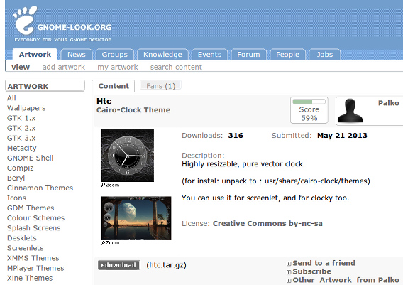 Cairo-Clock Ubuntu アナログ時計ウィジェット GNOME-LOOK ダウンロード