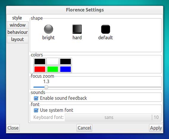 Florence Virtual Keyboard Ubuntu ソフトウェアキーボード スタイル