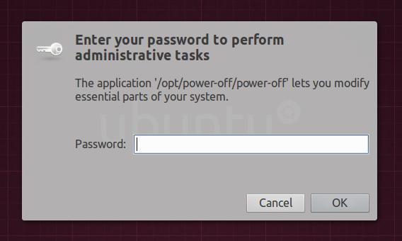 Power-OFF Ubuntu シャットダウンタイマー 管理者パスワード