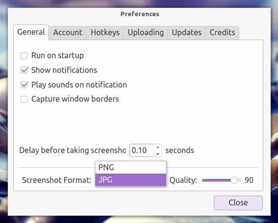 ScreenCloud Ubuntu 画面キャプチャ 画像の保存形式