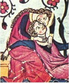 中世画 吟遊詩人とその恋人