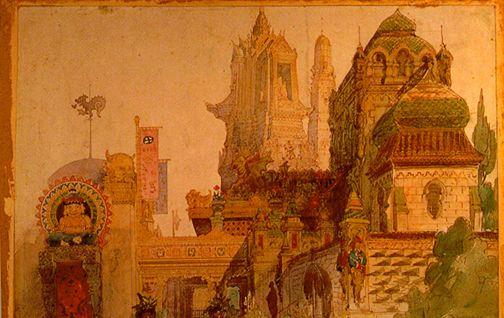 中世の城前で吟遊詩人が歌っている図