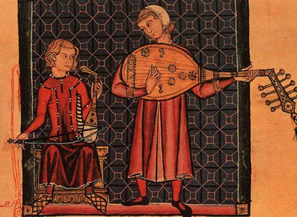 「リュートとレベックを弾く吟遊詩人」スペイン