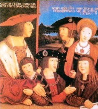 ハプスブルグ家のマクシミリアン1世と結婚後のマリーとその家族の肖像。マリーのしあわせの絶頂期。マリーは右上 マリーの血脈は息子カール2世を通しハプスブルグ家に連綿とうけつがれてゆく